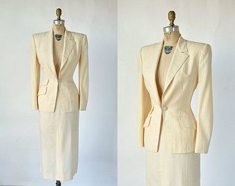 1940s Wedding Suit Vintage Cream Womens Suit Alternatives To