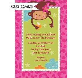 Custom monkey love banner 6ft party city ella party ideas design and order custom monkey love invitations thank you notes online personalize monkey love birthday invitations photo invites and thank you cards filmwisefo Choice Image