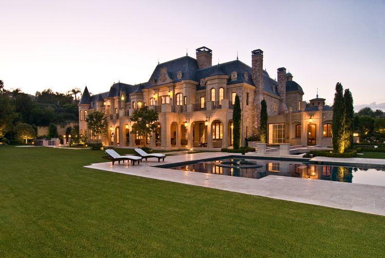 Stone Mansion Backyard Pool