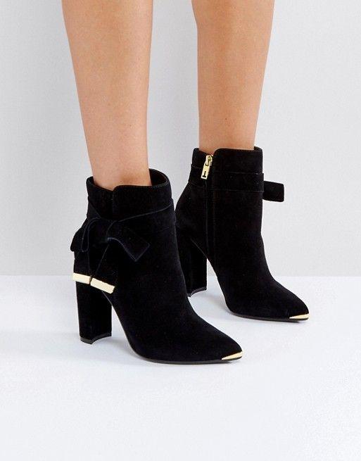 Women Fashion Faux Suede Golden Decor Rhinestone Belt Zipper Ankle Hidden Wedge Booties