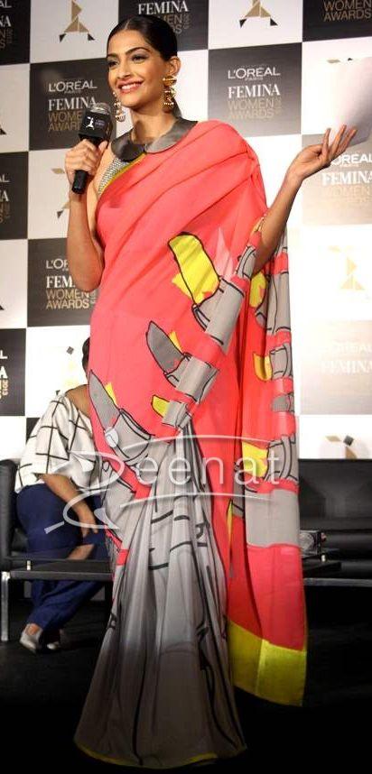 Sonam Kapoor In Satya Paul. #ethnic #desi #saree
