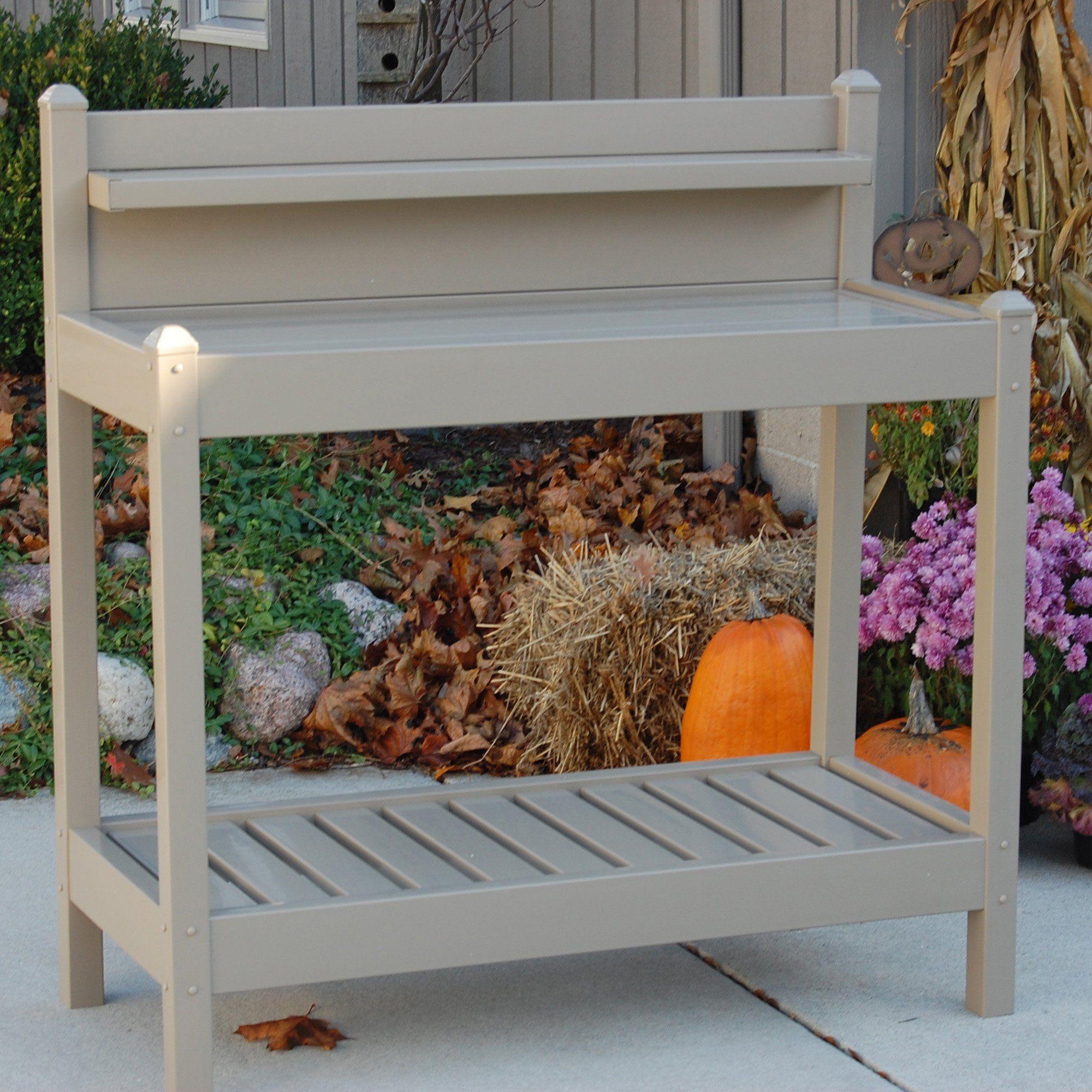 Dura Trel Vinyl Greenfield Potting Bench Mocha Potting Bench Outdoor Potting Bench Bench