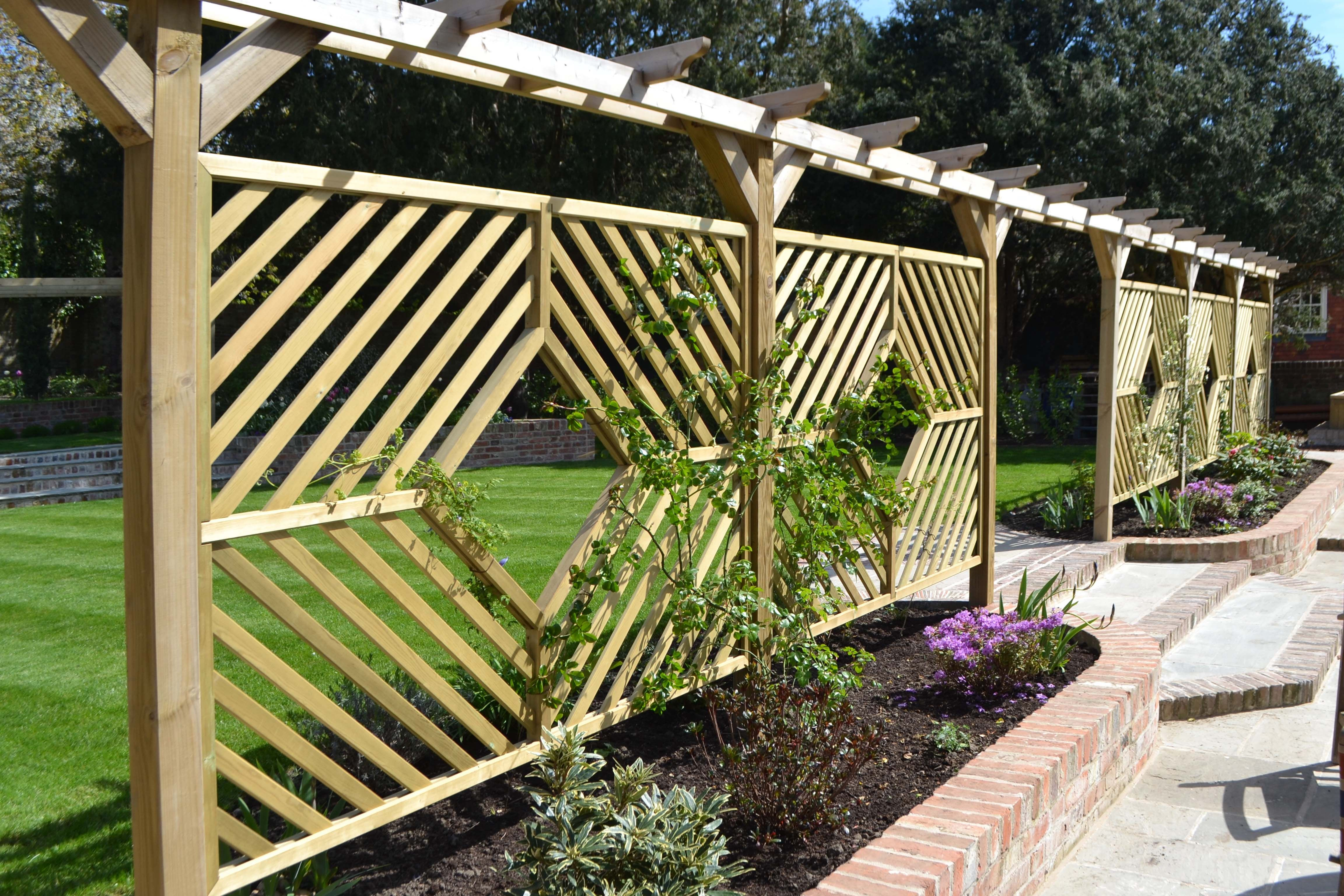 Jacksons Single Pergola Arch Custom Diamond Panels   #screens #garden  #design