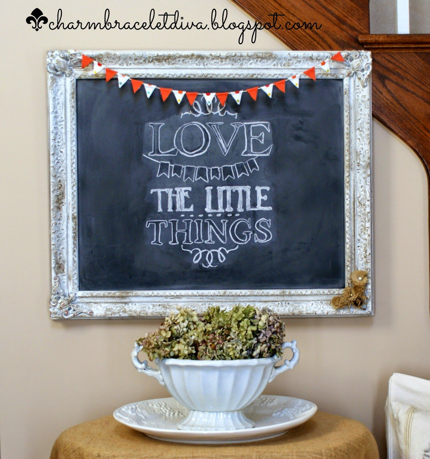 Love the Little Things quote on vintage frame chalkboard with mini ...