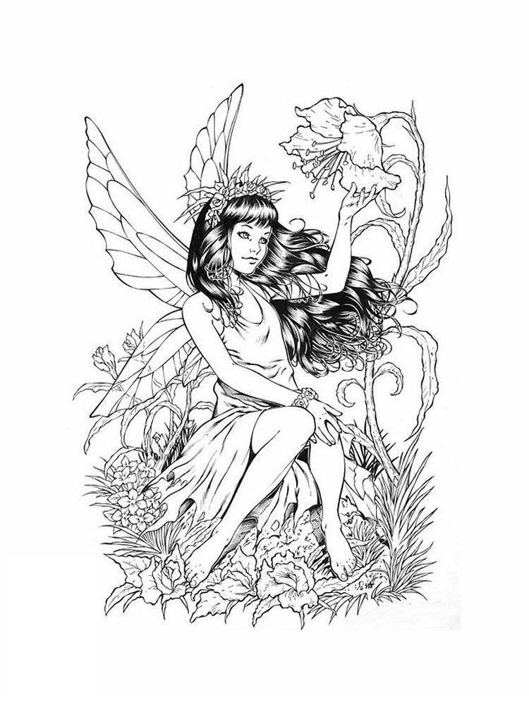 Free Fairy Coloring Pages For Adults To Print In 2020 Fairy Coloring Pages Fairy Coloring Book Fairy Coloring