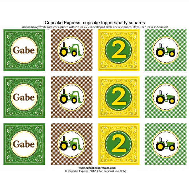 It is a photo of Epic John Deere Cupcake Toppers