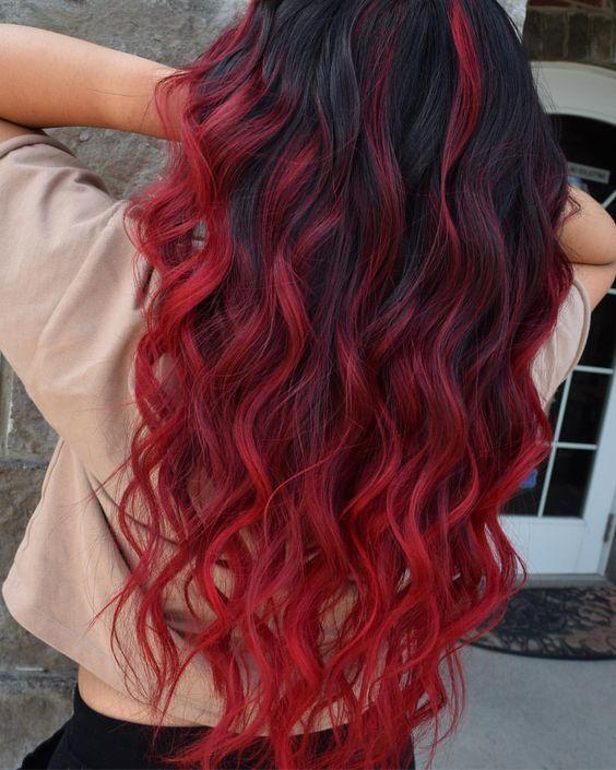 schwarze Haare rote Ombre Modelle 2019 #ombre Haar Red