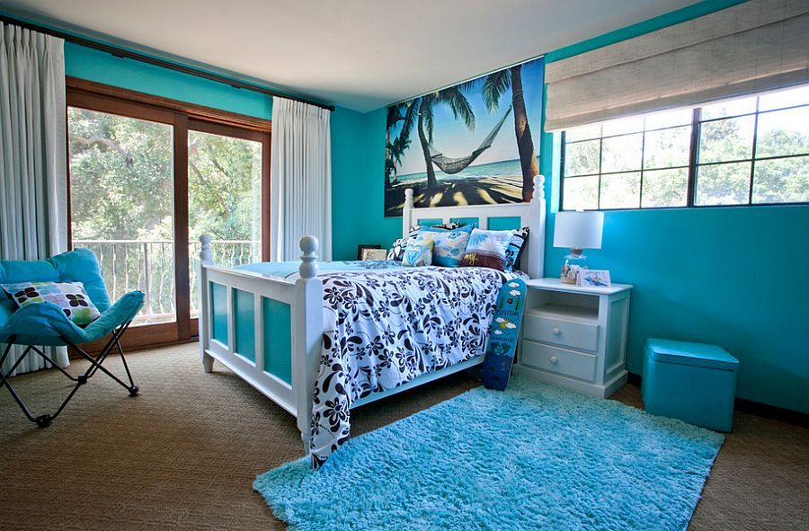 20 Kids Bedrooms That Usher In A Fun Tropical Twist Tropical Bedrooms Blue Bedroom Decor Bedroom Design