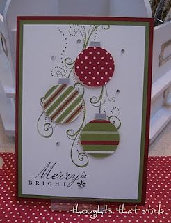 Card  I like how the stamping represents the tree and the bling represents lights on a tree!