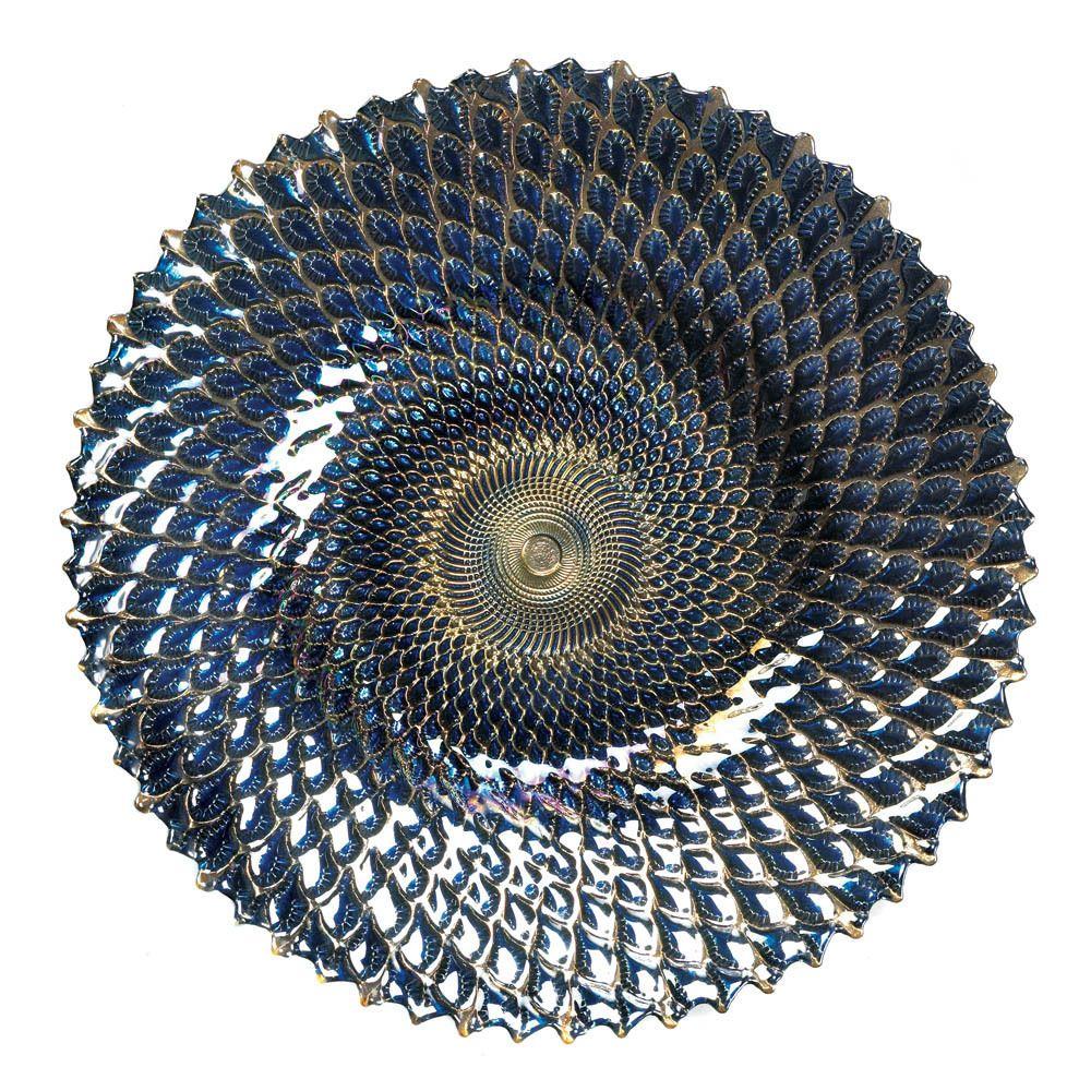 Vintage Blue Glass Plate Large Decor Wall Glass Centerpiece Dish Table Fan Bowl…