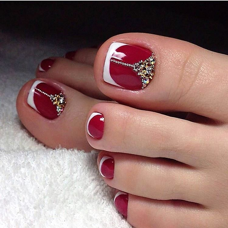 Red French Toe Nails Wowww - Red French Toe Nails Wowww TOE NAIL ART Pinterest French Toe