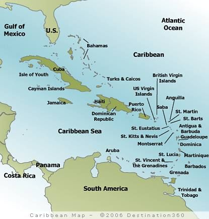 Map of the Caribbean. | MAPS | Island map, Map, Caribbean flags