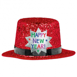 New Years Party Supplies Red Glitter Glitter Top Top Hat