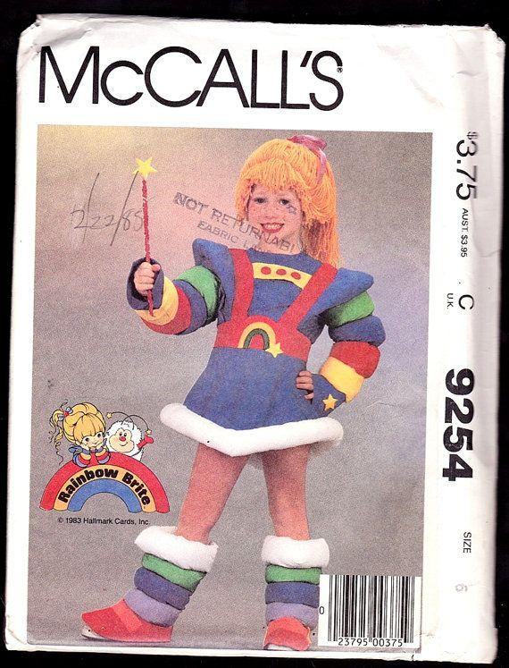 McCall\'s 9254 Children\'s and Girls\' Rainbow Brite Costume Size 6 ...