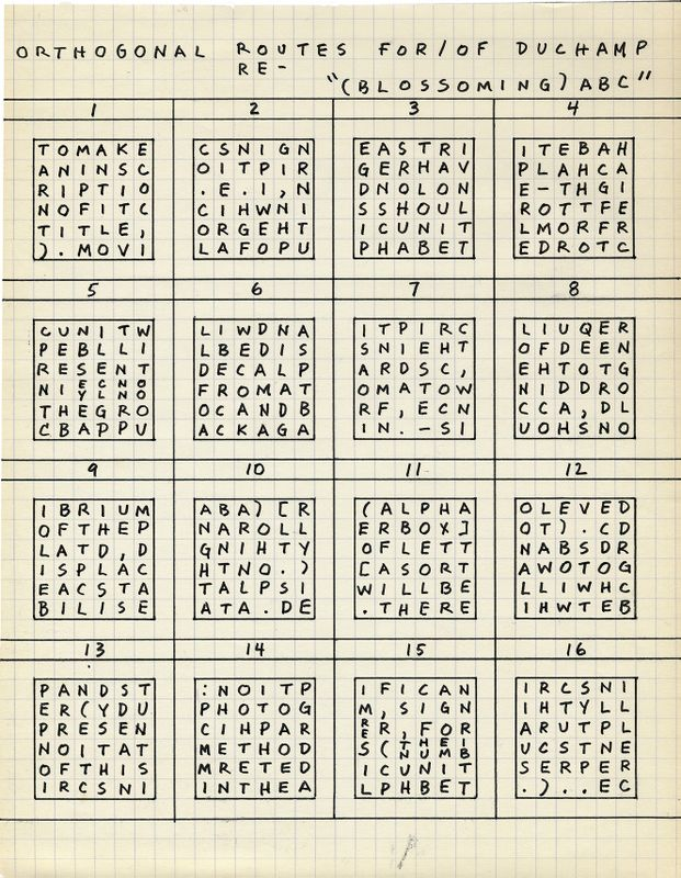 Mel Bochner Portrait of Marcel Duchamp (1968) Ink on graph - how to print graph paper in word