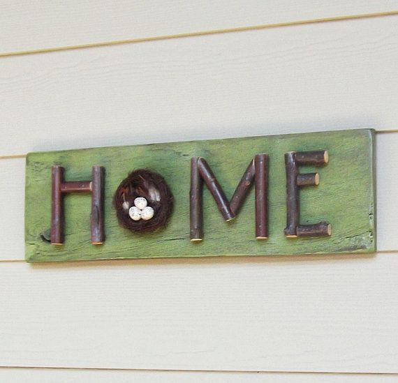 Lime Green Home Sign Stick Letters Twigs Branches by Milepost7, $48.00