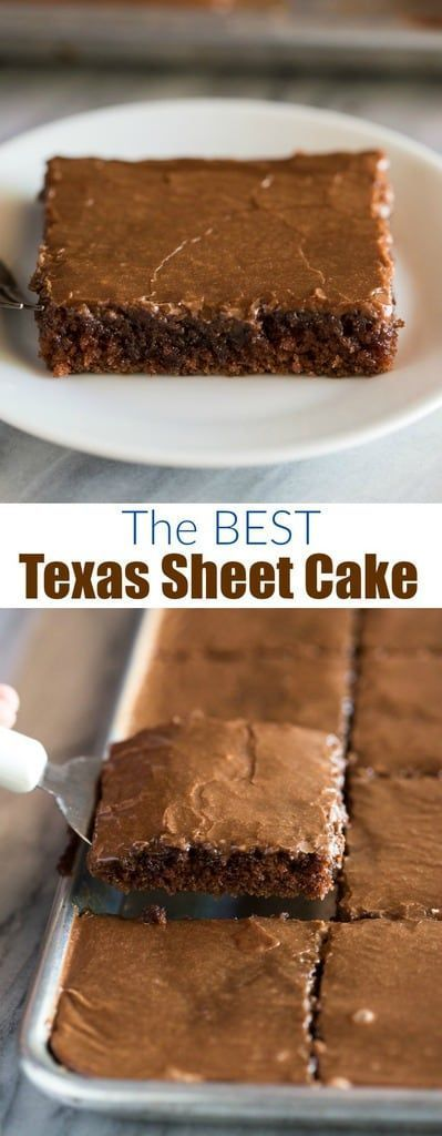 The best (and easiest) Texas Sheet Cake is an amazing chocolate cake recipe made in a jelly roll pan and covered in warm chocolate frosting.#Texas #Sheet #BEST #Cake #TheThe BEST Texas Sheet Cake