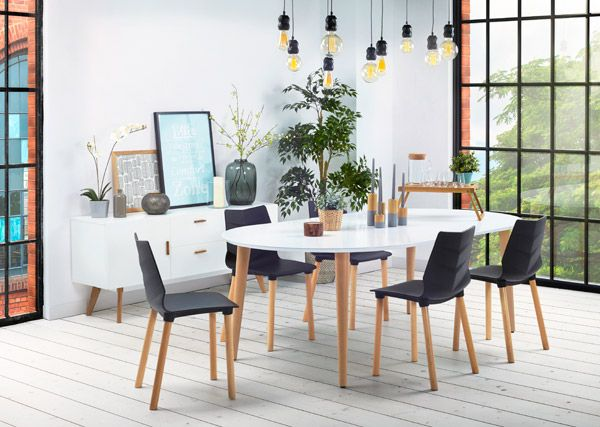 Table à dîner ronde extensible \u0027IGLOU\u0027 style scandinave - 120(220