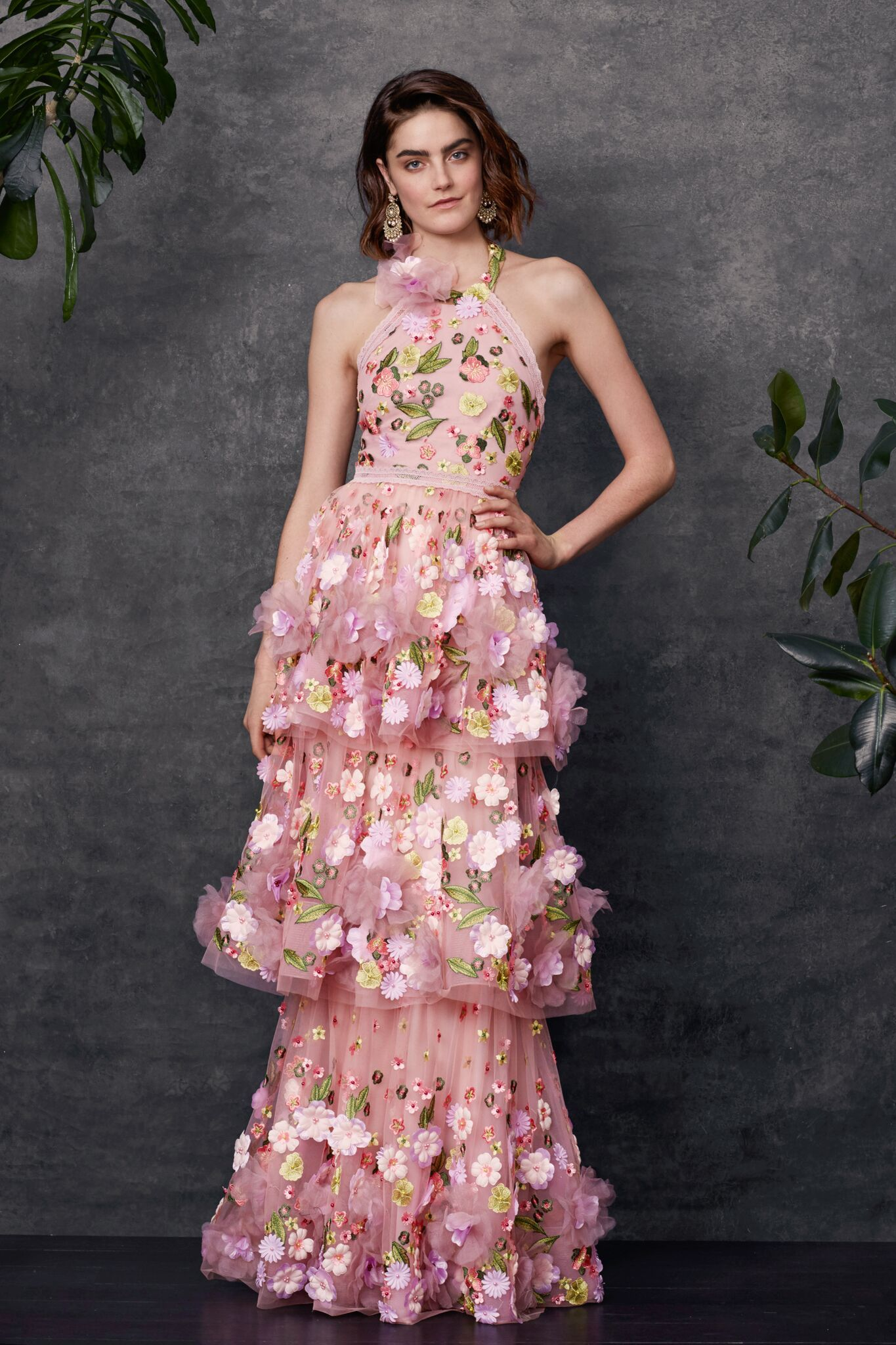 8ee458c3ac6 Halter multi-colored 3D floral embroidered tiered gown with trims ...