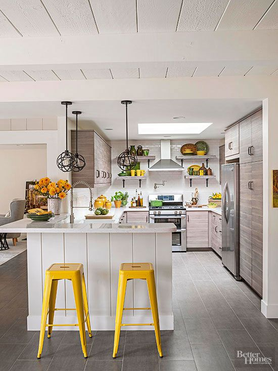 Trendy but Tasteful Kitchen Family affair, Rustic cabinets and Bar