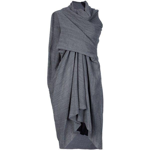 RICK OWENS Draped dress (€550) ❤ liked on Polyvore featuring dresses, asymmetrical dress, wool dress, draped dress, rick owens and grey dress