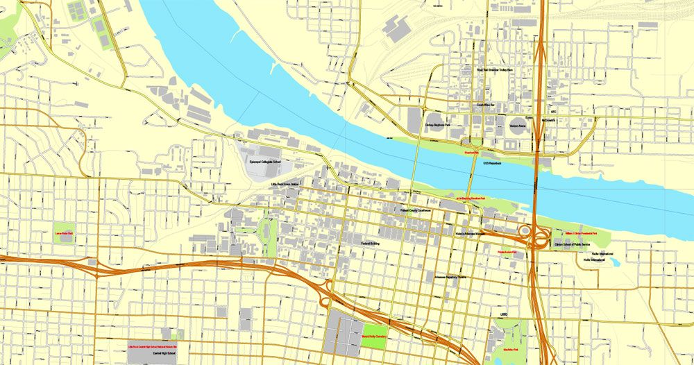 LittleRock PDF Map Arkansas US Vector Street City Plan Map - Little rock arkansas on us map