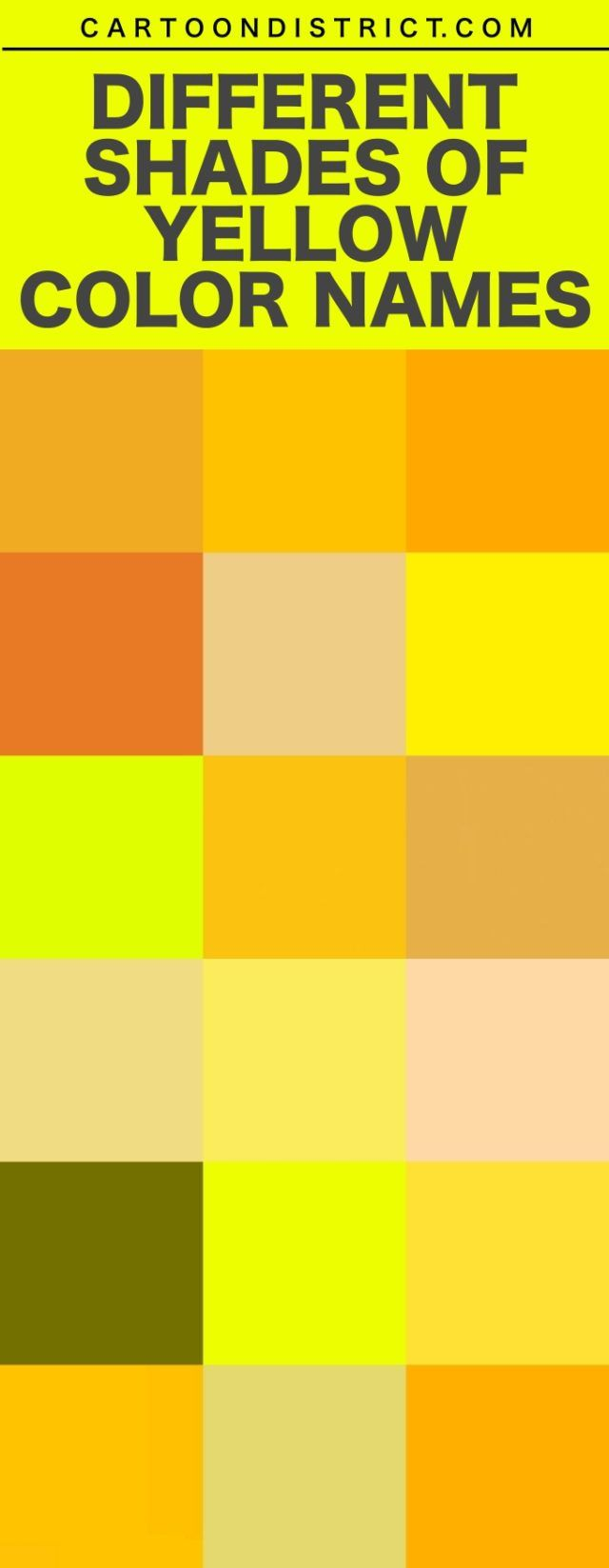 Different Shades Of Yellow Color Names Shades Of Yellow Color Blue Shades Colors Shades Of Yellow