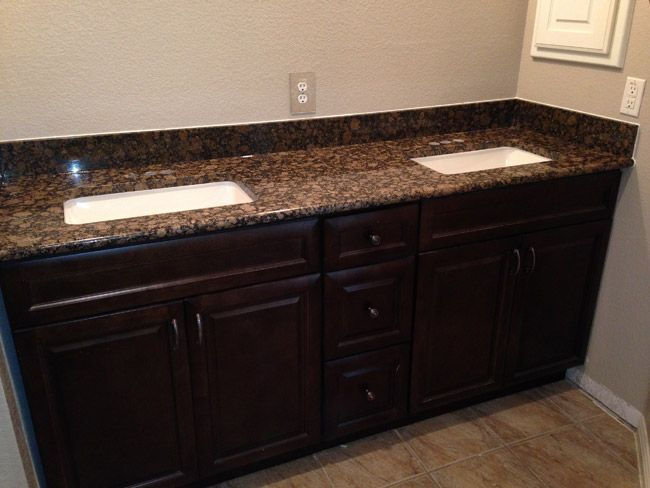 """""""The delivery time wasn't too bad and the delivery guys were in touch with me the whole week prior. I will be using them again and have given their website to my family and friends after they saw my finished project."""" ~ Alex Linden   Espresso Bathroom Cabinets   Kitchen Cabinet Kings"""
