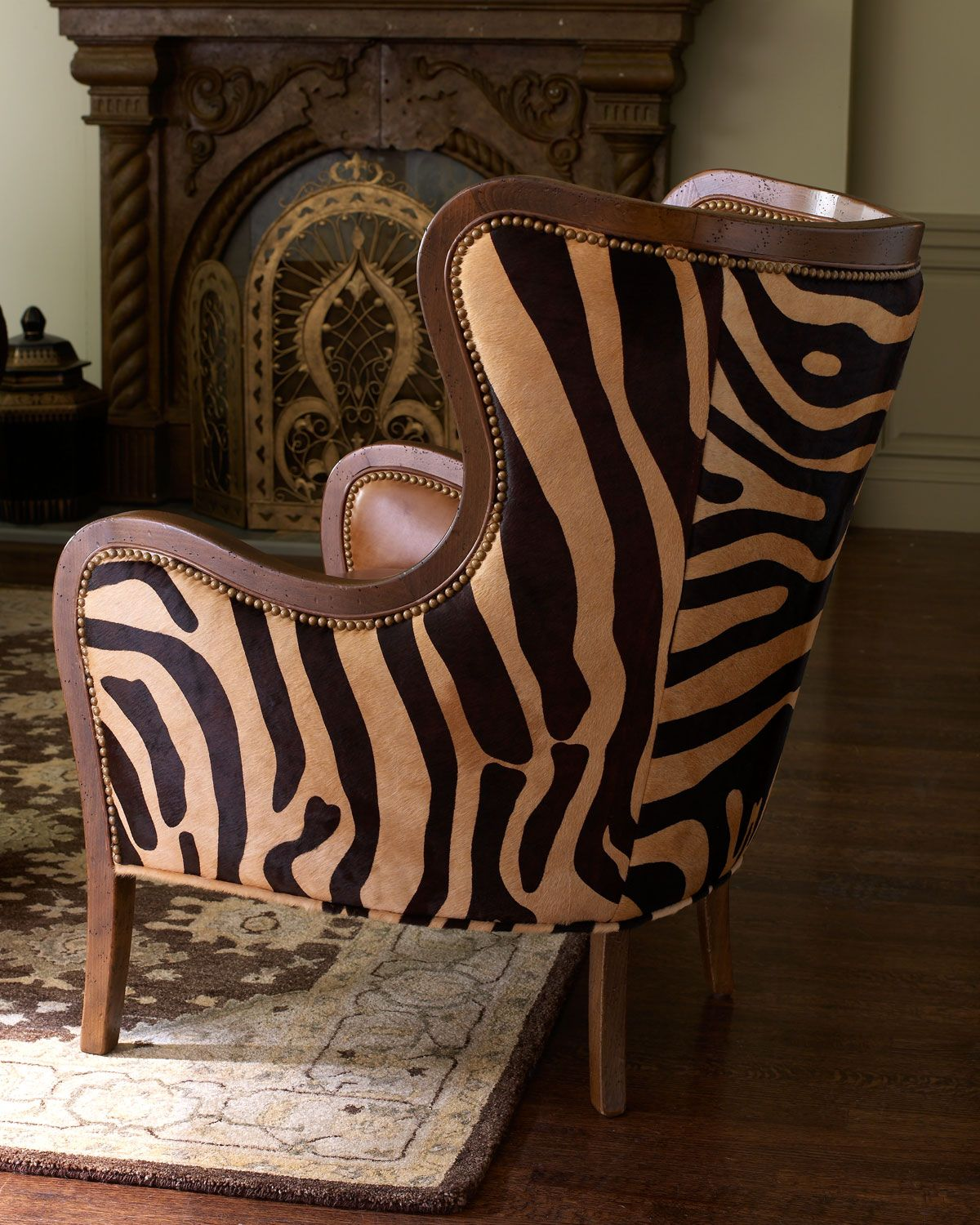 Massoud Chocolate Zebra Wing Chair Wing chair, Zebra