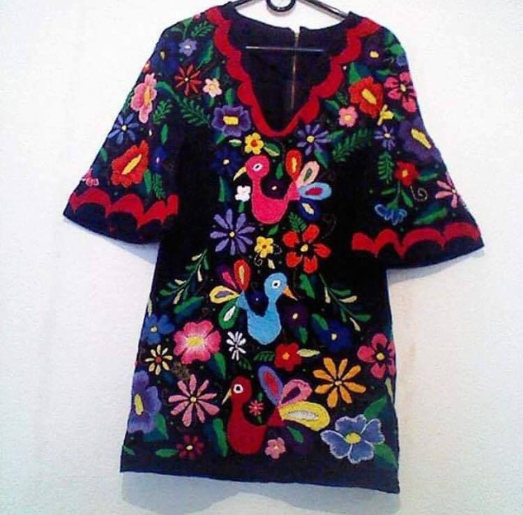 Modern Mexican Dress Hand Embroidery Party Fiesta Mexicana Cinco De Mayo Day Of The Dead Bridemaid Wedding Colourful By