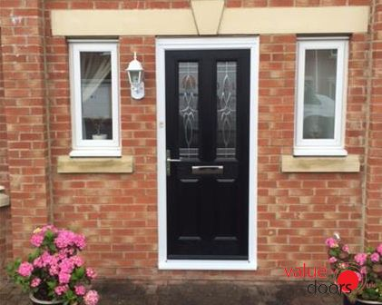 One of our Cardiff Composite Doors in Black with Crystal Harmony Frost // & One of our Cardiff Composite Doors in Black with Crystal Harmony ...