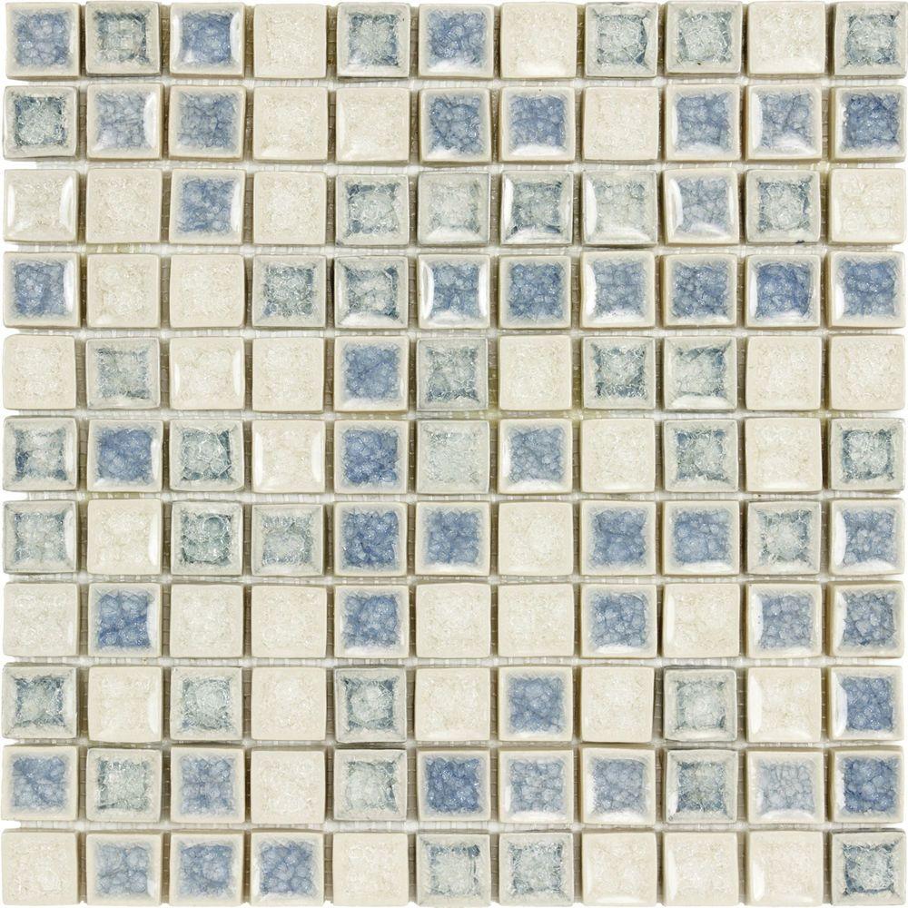 Kitchen Bathroom 1x1 Blue Slate Blue White Ceramic Crackle Glass ...