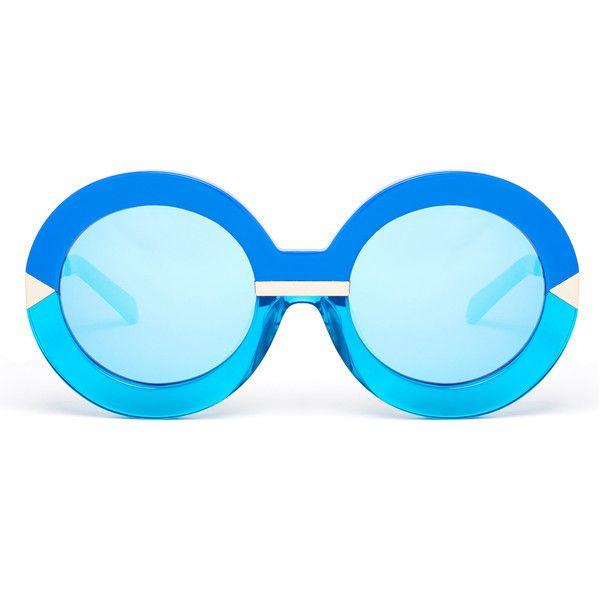 57c8dd4539 Karen Walker Hollywood Pool Sea Blue Round Oversized Mirrored... (£86)