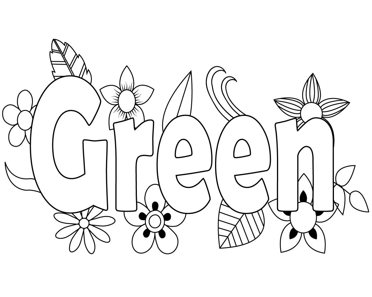 Free Green Coloring Pages For Kids Coloring Pages Leaf Coloring