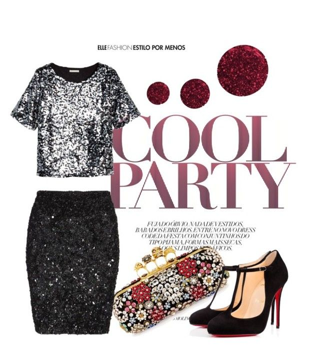 """""""sparkles"""" by styleability on Polyvore featuring Alexander McQueen, AllSaints, H&M, Christian Louboutin and Topshop"""