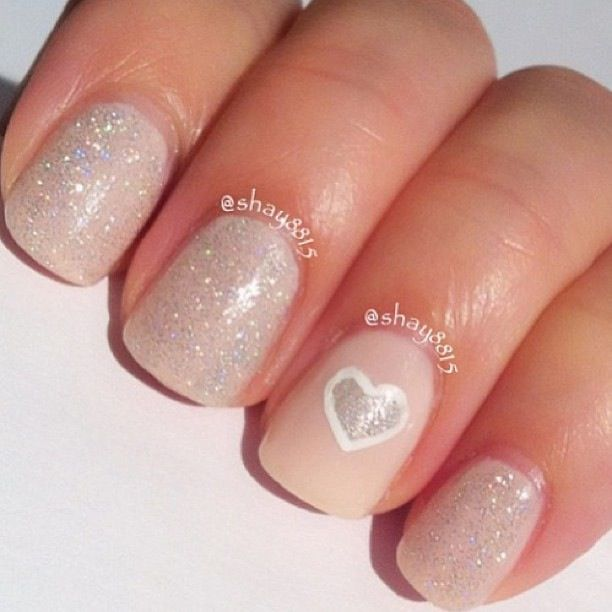 Wedding nails.. the subtle sparkle, NOT the heart