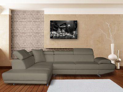 check-out 268ff 0e00a Canapé d'angle simili cuir 5 places avec têtières réglables ...