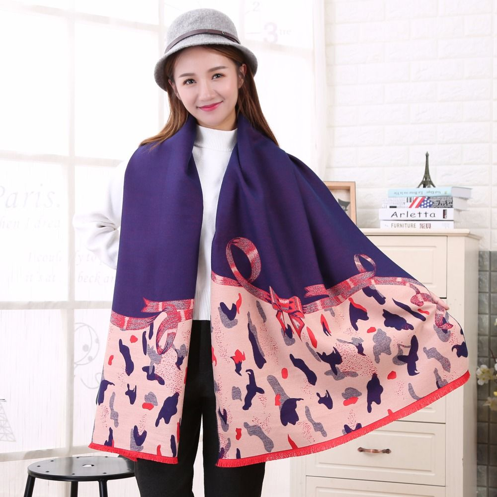 e1f38fc7c3d1  DIFANNI  2017 Luxury brand scarf new women bow cashmere pashmina scarves  with tassel lady
