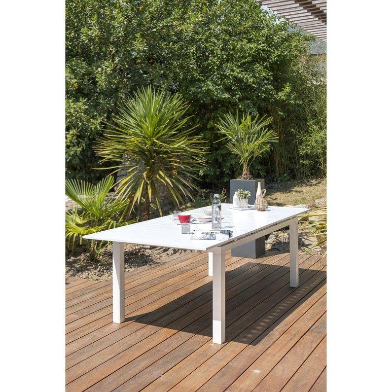 Table de jardin de repas Mykonos rectangulaire blanc 8/10 ...