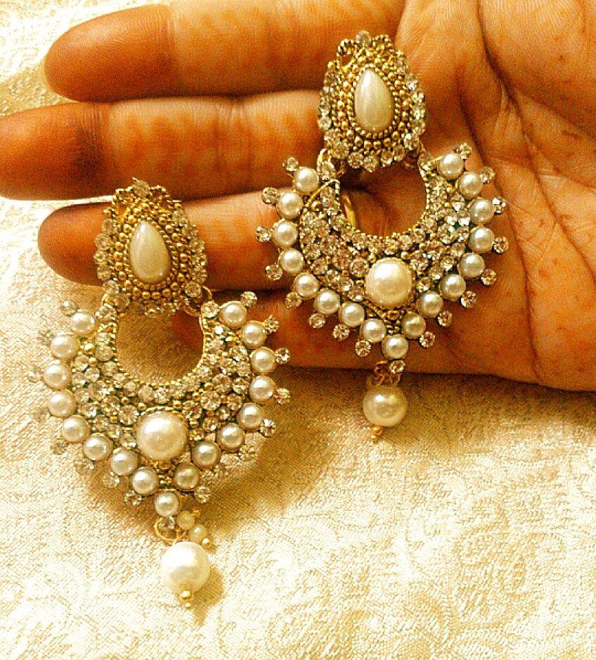 Lalso Designer Stylish Dangler Drop White Pearl Diamond Earrings ...