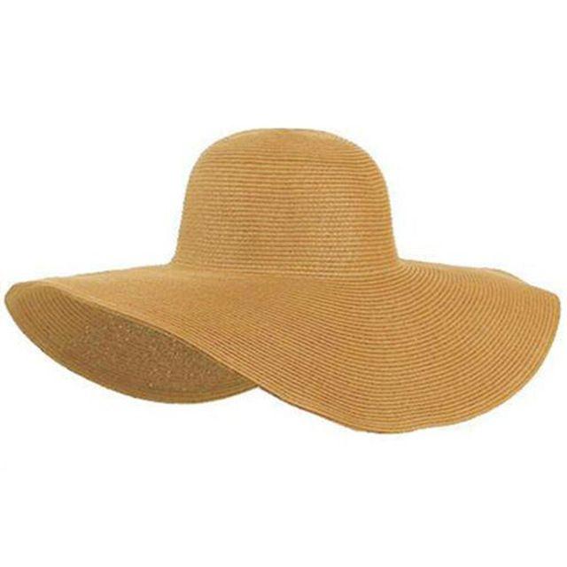 2015 Moda Verão Cap Chapéu de Palha Das Senhoras das Mulheres Dobrável  Ampla Grande Brim Floppy Chapéu de Sol feminino chapéu de Praia Mulheres a6977a2860d