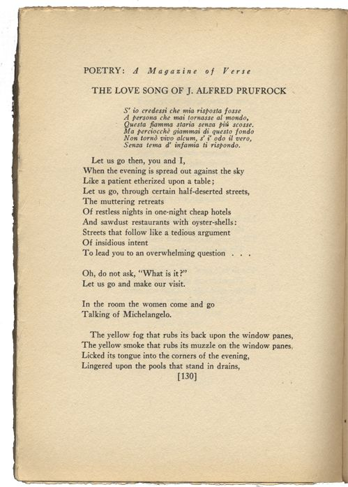 analysis love song prufrock t s eliot The love song of j alfred prufrock ts eliot  its claim to be a 'love song' is ironic there is no mention or evidence of love in the poem .