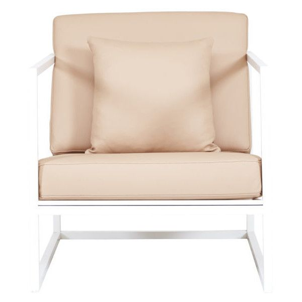 White Metal Frame And Leather Armchair Modern Designer Accent