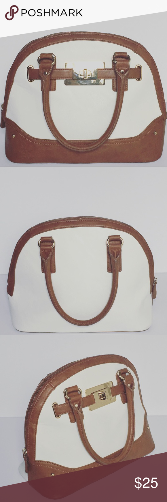 Aldo Bag Gently used beautiful off white/cream bag with brown faux leather detailing. It's hold a lot of items including an iPad! It's great for all year round. Open to negotiation and bundle deals. Aldo Bags Satchels