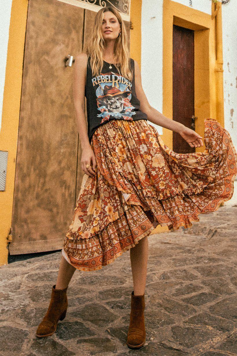 Amethyst Frill Skirt   Boho skirts, Bohemian skirt, Frill skirt