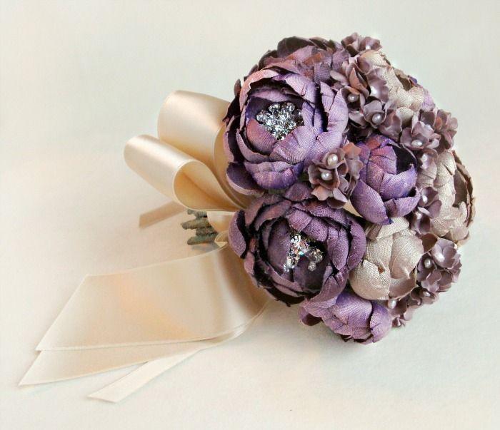 Image of Purple and Champagne Silk Fabric Petite Bouquet | Purple ...