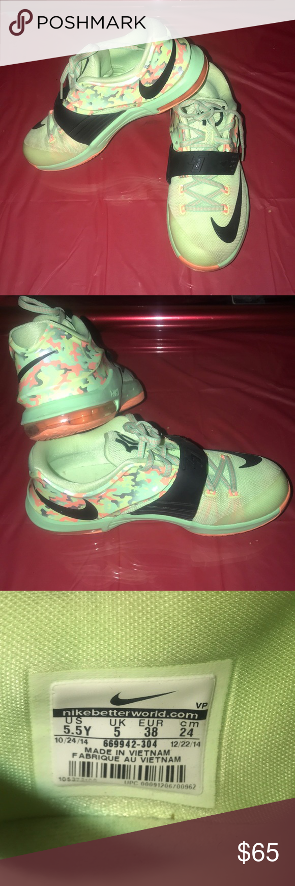 6e4b297ecf11 Kevin Durant shoes Colors are neon Green