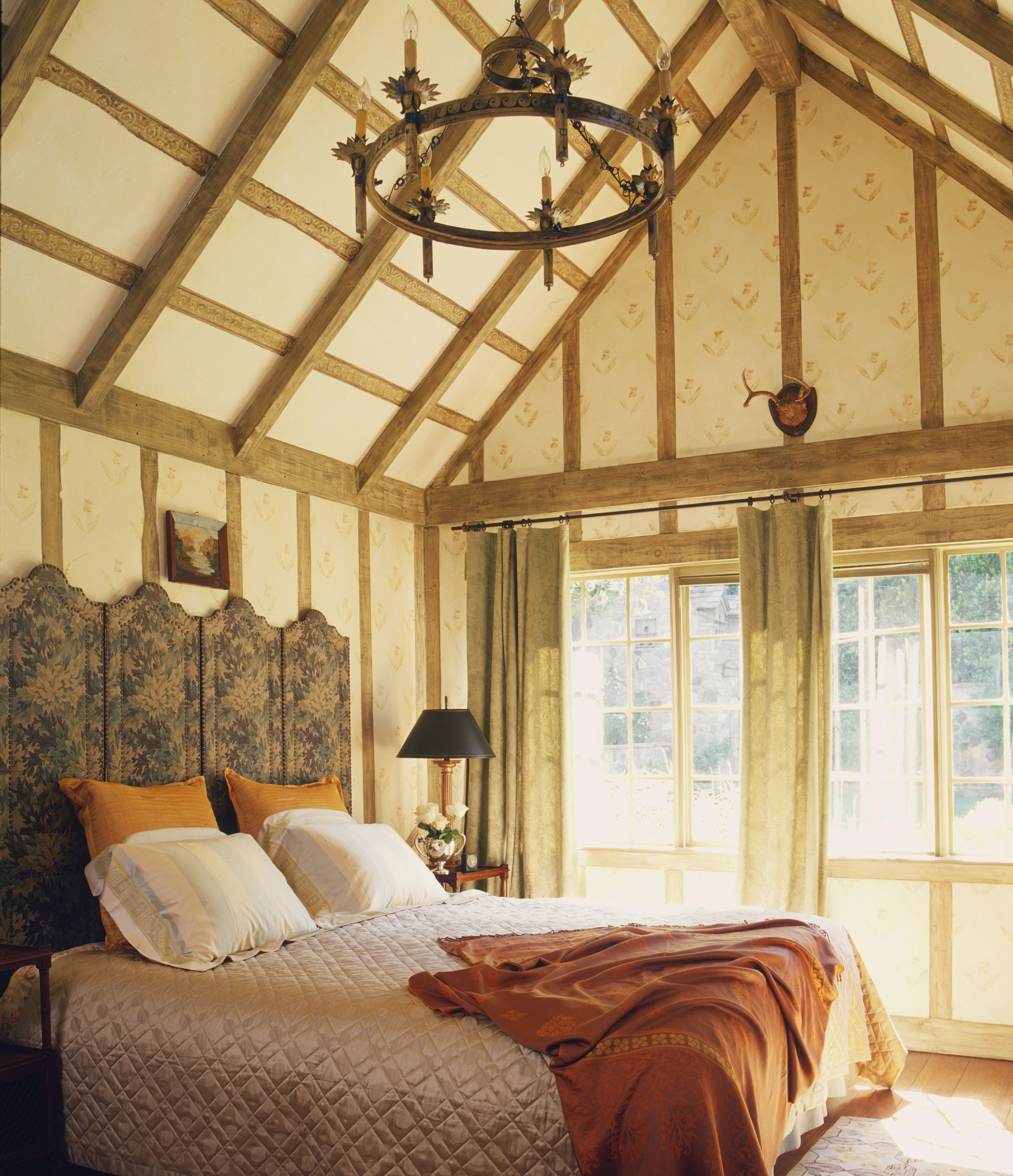 Half Timbered Bedroom And Thistle Patterned Stenciling