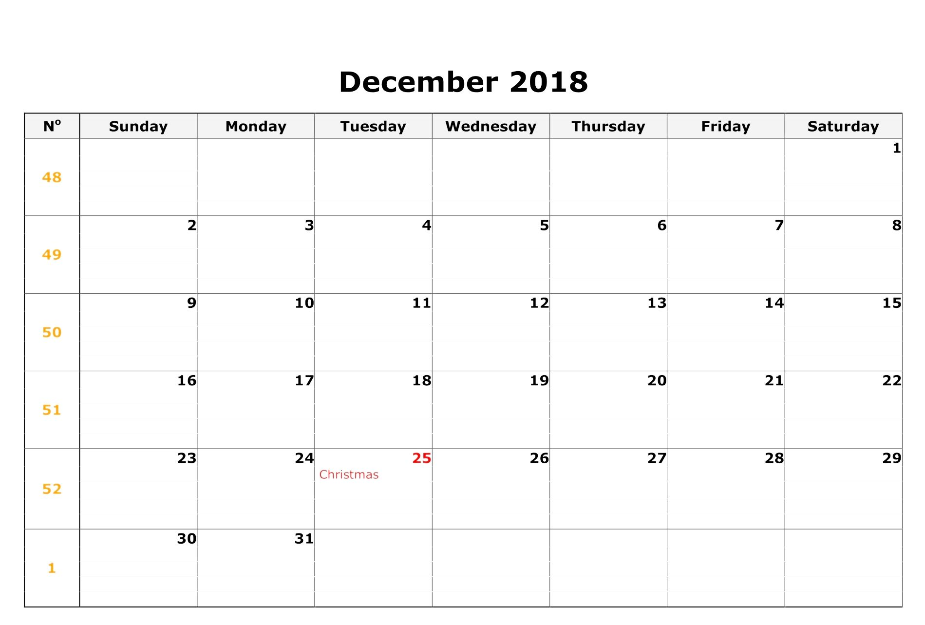 December 2018 Calendar Excel With Holidays Decembercalendar