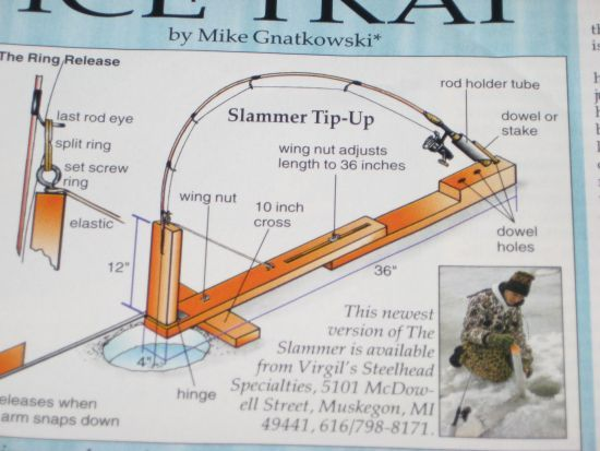 Slammer tip up com bing images fishing pinterest for Ice fishing setup